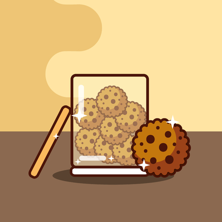 glass container with cookies bakery food vector illustration Illustration