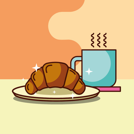 croissant and hot coffee cup on plate food vector illustration Illustration