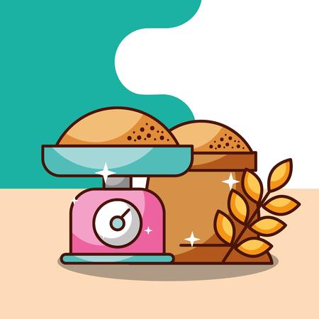 bakery kitchen scale sack flour wheat ears vector illustration
