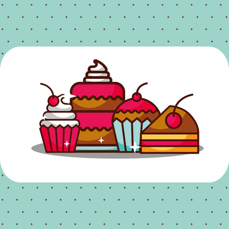 bakery dessert cake cupcakes pie and slice with cherries vector illustration