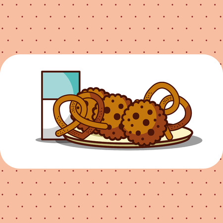 milk glass with cokkies and pretzels on plate vector illustration Illustration