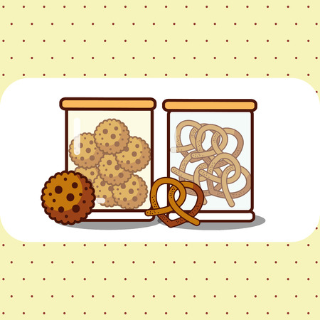 Glass containers with cookies and pretzels vector illustration Çizim