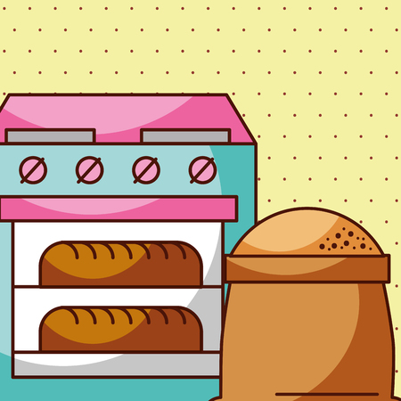Fresh bread in oven with flour sack, vector illustration