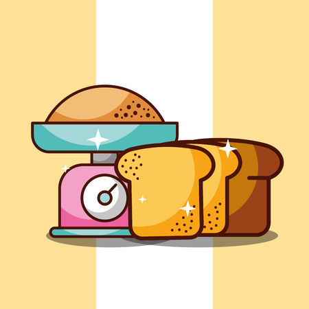 Bakery kitchen scale with flour and slice bread vector illustration