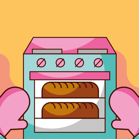 Baked fresh bread in oven with kitchen gloves vector illustration