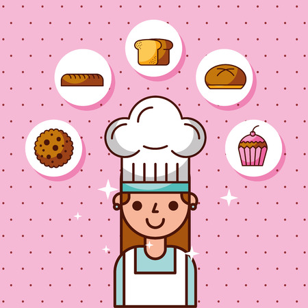 Cartoon girl baker in uniform with bakery products, vector illustration  イラスト・ベクター素材
