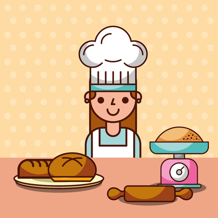 Chef girl making bread with flour roller and kitchen scale, vector illustration Çizim