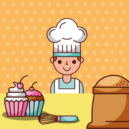 Chef boy cartoon making cupcakes using flour and food mixer, vector illustration Ilustração