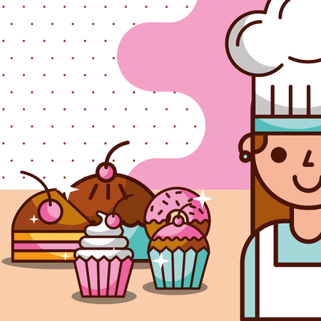 Chef girl with sweet cupcakes and donut pie dessert, vector illustration