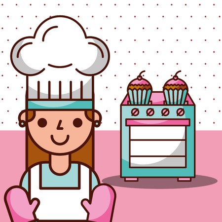 Chef girl and stove with cupcake desserts, vector illustration