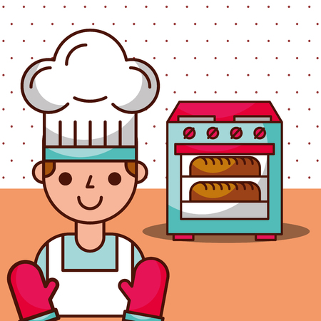 Chef boy cartoon waiting bread in oven to be baked, vector illustration