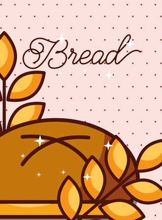 Bun bread with wheat ears on pink dotted background poster, vector illustration