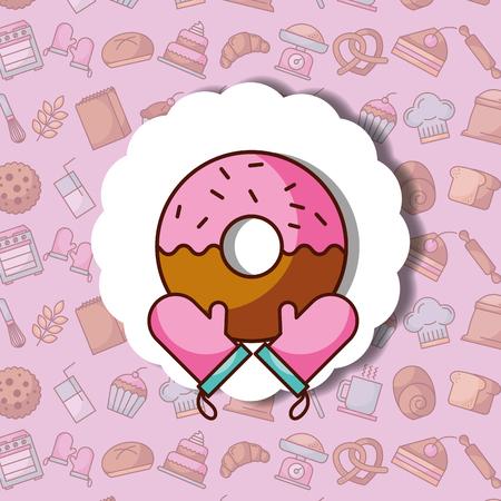 Sweet donut and kitchen gloves label dessert bakery background, vector illustration