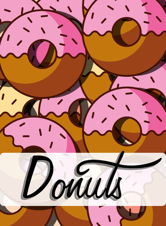 Sweet donuts bakery and dessert product, background vector illustration Illustration