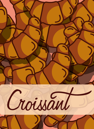 Croissant bakery and dessert product background, vector illustration 向量圖像