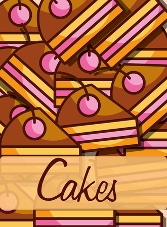 Slice cakes bakery and dessert product background, vector illustration