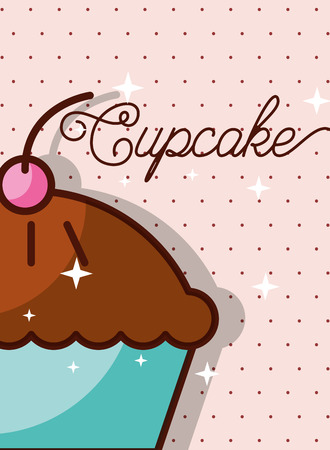 Tasty cupcake on pink dotted background poster, vector illustration
