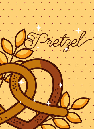 Pretzel wheat ears on dotted background, poster vector illustration 向量圖像