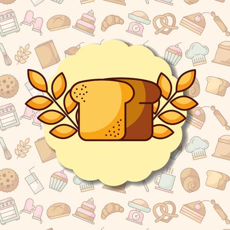 Wheat bread label on dessert bakery background, vector illustration