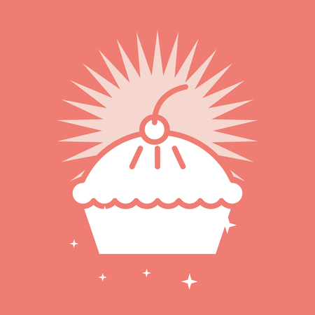 Sweet pie cake on red color bright background, card vector illustration