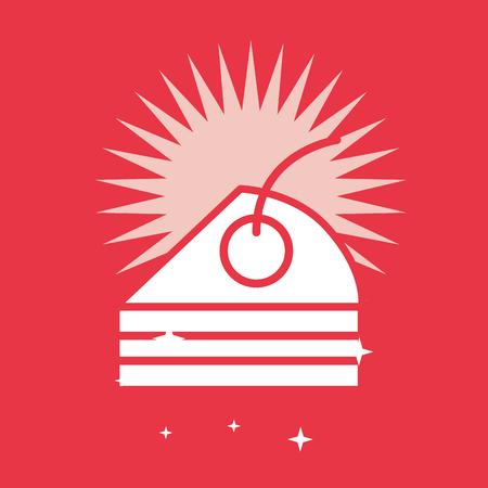 Cake slice on red color bright background, card vector illustration