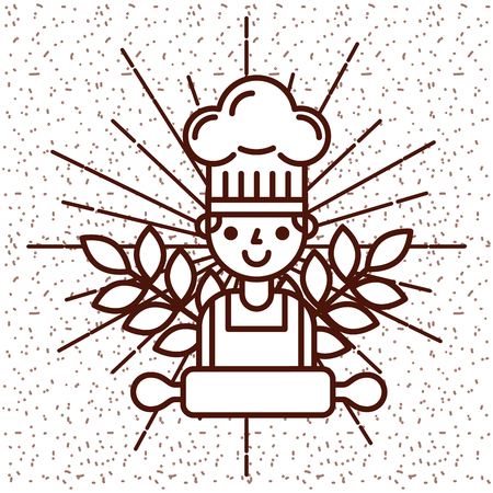 Chef boy with rolling pin on vintage style card vector illustration Ilustrace