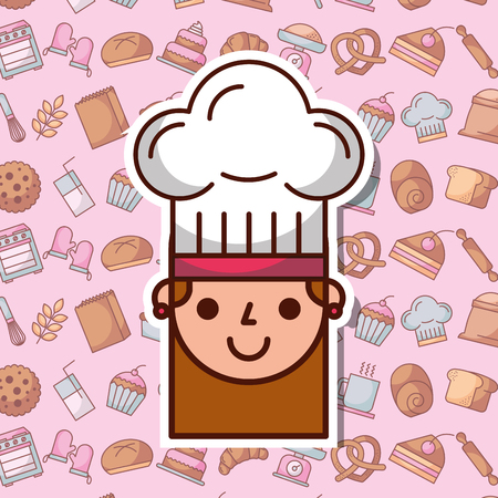 Cute face of a girl with chefs hat on bakery dessert background vector illustration