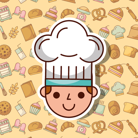 Cute face of a boy with chefs hat on bakery dessert background vector illustration Stock Illustratie