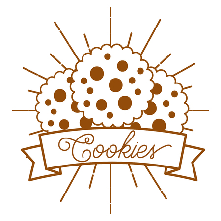 Delicious cookies on vintage style card vector illustration Çizim
