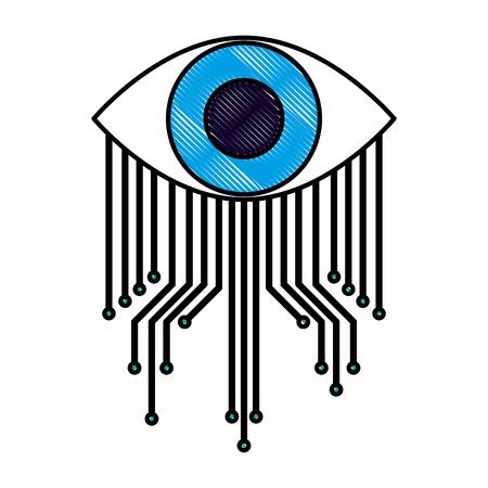 cyber security eye surveillance image vector illustration