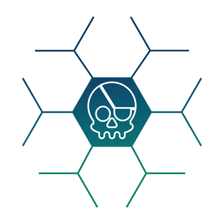 cyber security skull piracy crime technology vector illustration