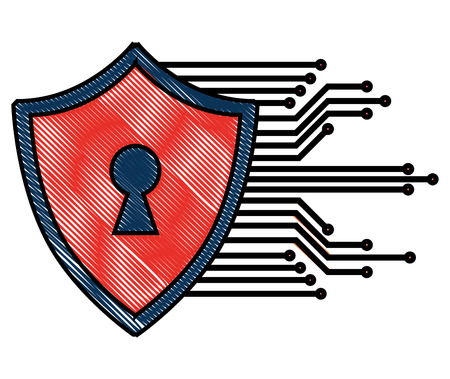cyber security shield protection keyhole image vector illustration Stock fotó - 100194221