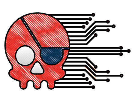 cyber security skull piracy crime technology circuits vector illustration