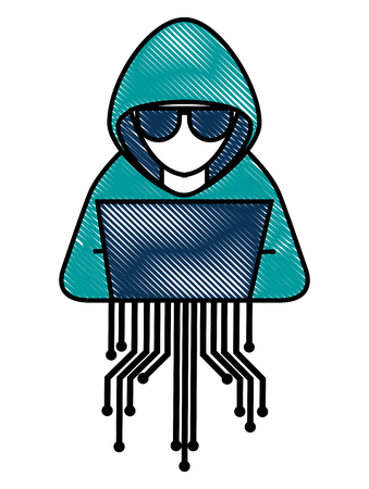 cyber security hacker character with laptop vector illustration