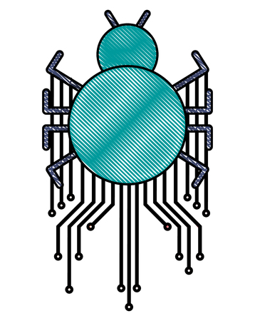 cyber security safety bug virus circuit electronic attack vector illustration
