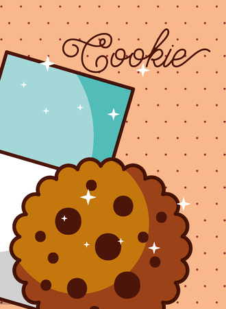 milk glass and cookie dotted background poster vector illustration Banque d'images - 100194236