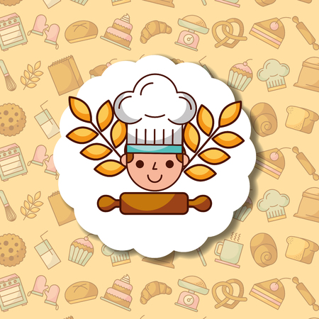 chef boy cartoon label dessert bakery background vector illustration