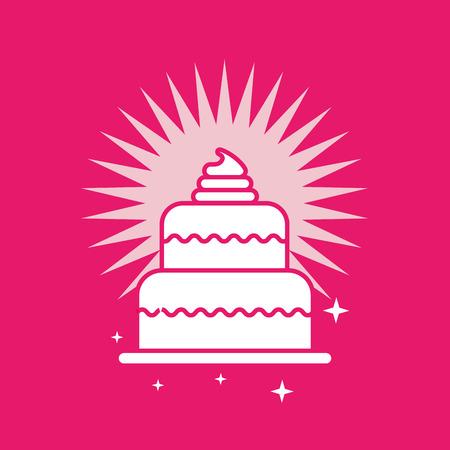 tasty cake color bright background card vector illustration  イラスト・ベクター素材