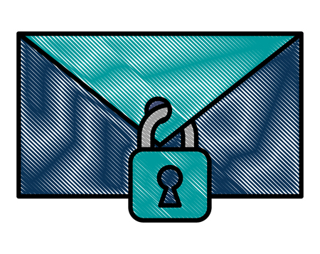 cyber security email spam padlock protection message vector illustration