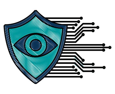 cyber security eye surveillance protection shield vector illustration Standard-Bild - 100195369