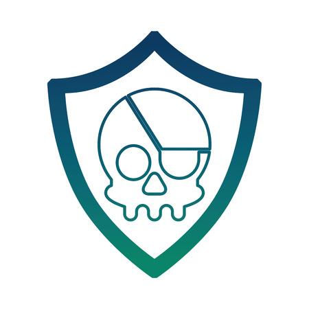 cyber security shield protection skull danger virus vector illustration