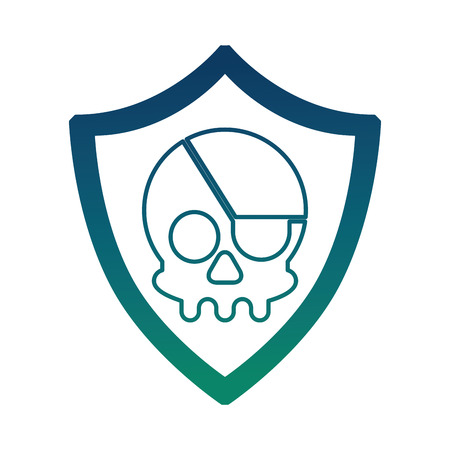 cyber security shield protection skull danger virus vector illustration