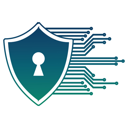cyber security shield protection keyhole image vector illustration