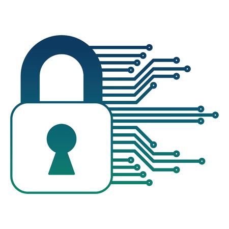Cyber Sicherheitsvorhängeschloss Sicherheitsdaten Informationen Vektor-Illustration