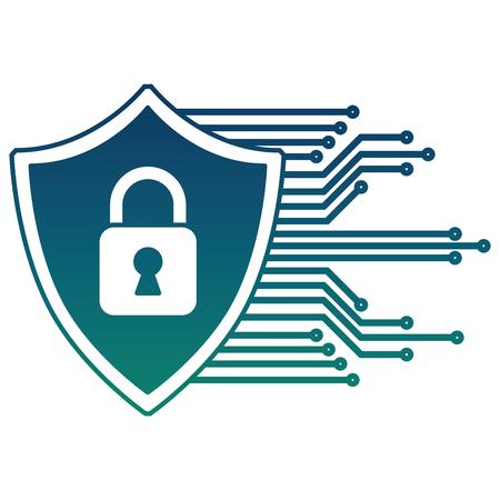 cyber protection padlock safety data digital vector illustration 向量圖像