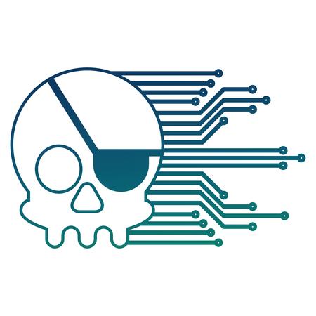 cybersécurité crâne piratage crime technologie circuits vector illustration
