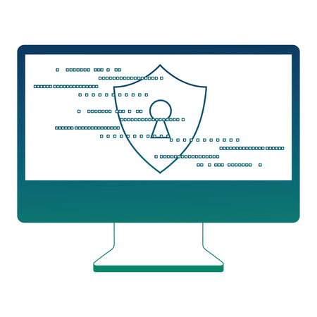 computer screen access security shield keyhole vector illustration Illustration