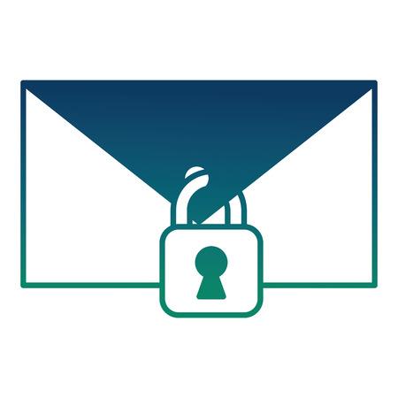 Cyber-Sicherheit E-Mail-Spam Vorhängeschloss Schutz Nachricht Vektor-Illustration