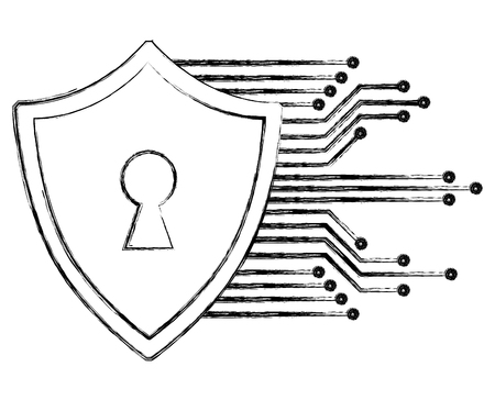 cyber security shield protection keyhole image vector illustration Archivio Fotografico - 100195573