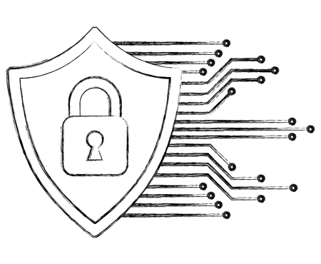 cyber protection padlock safety data digital vector illustration Illustration